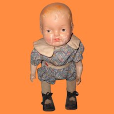 Early Wind-Up Composition Baby Doll ~ Factory Original Clothing