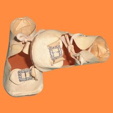Oil Cloth Buckle Design Shoes for Large Composition or Bisque Doll