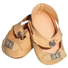 Nice Oil Cloth Buckle Design Shoes for Medium Size Composition or Bisque Doll