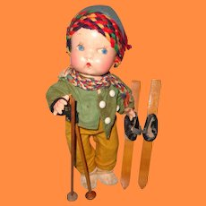 Rare Factory Original  Little Cherub Boy Composition Skier Doll by Averill for Harriet Flanders