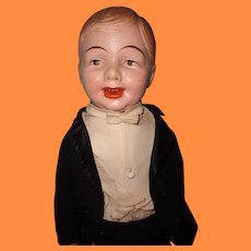 """30"""" Composition Carnival Boy Doll in Original Tuxedo Tails Outfit"""