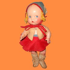 "HTF Harriet Flanders ~ Little Cherub 12""  Girl Skater Composition Doll By Averill ~ Factory Original"