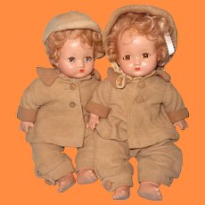 Effanbee Factory Orig. Mickey & Janie Composition Doll Twin Set