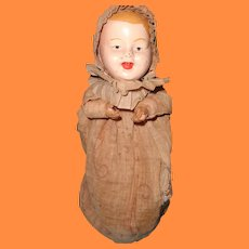 Metal Head baby Doll w/ Wooden Bellows ~ Art Metal Works NJ Toy c1915