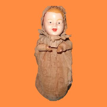 Metal Head baby Doll w/ Wooden Bellows ~ Art Metal Works NJ Toy c1915