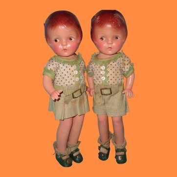 Rare Factory Original Petite Sally Twin Set Composition Dolls by American Character in Tagged Outfit
