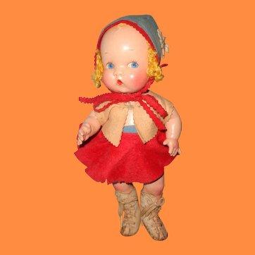"Factory Original Harriet Flanders ~ Little Cherub 12""  Girl Skater Composition Doll By Averill"