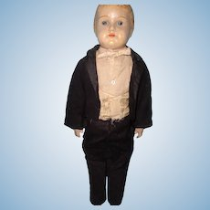 "Very Early Composition 18"" Groom Doll w/ Leather Body ~ Great to display with Bride"
