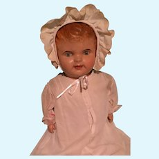 """Early 26"""" Composition Baby Doll ~ Disc Jointed/ Straw stuffed"""