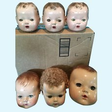9 Effanbee Dy-Dee Baby Doll Heads for Parts or Repair