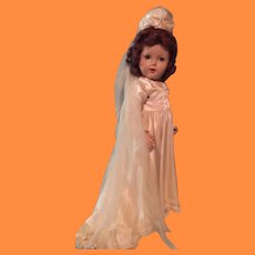 Beautiful Creamy Bridal Wedding Gown and Veil for Large Composition Doll