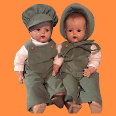 Big Baby Twin Composition Doll Set ~ Jack and Jill