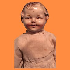 """Early 14"""" Molded Hir Disc Jointed Composition Doll ~ Sawdust filled"""