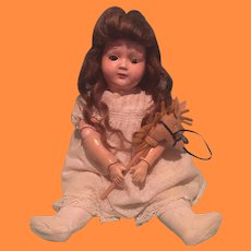 """Early Ball Jointed Horsman 16"""" Composition Doll"""