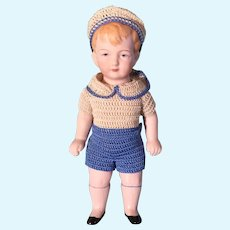 "Factory Original 7"" German All Bisque Boy Doll ~ Gift Giving Condition"