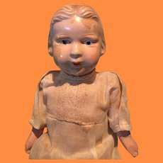 """Early All Original 13"""" Disc Jointed Composition Doll ~ Detailed Molded Hair"""