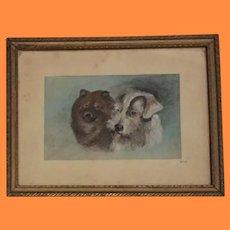 2 Dog Framed Portrait Painting ~ 1943 ~ Elkhound and Terrier