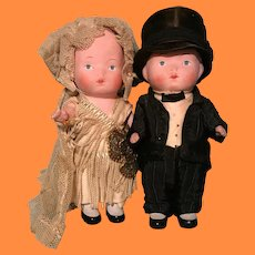 Factory Original Bride & Groom Composition Flapper Doll Set