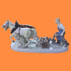 German Porcelain Draft Horse Team Pulling Figurine Porzellanfabrik Carl Scheidig