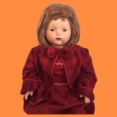 """Effanbee 30"""" Mae Starr Composition Talking Phonograph Doll w/ Cylinder ~ Works!"""