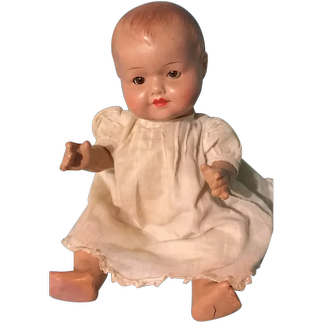11.5 Adorable German Composition Baby Doll ~ glass eyes