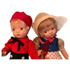 """Effanbee 9"""" Patsyette Dutch Couple Composition Doll Set ~ Boy and Girl"""