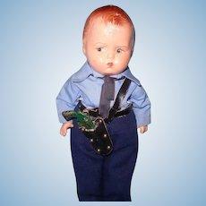 Effanbee Rare Policeman Grumpy Composition Doll~ Factory Original