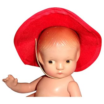 1930s Red Molded Felt Hat for Small Composition or Bisque Doll
