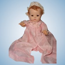 "Beautiful Pink Silk Embroidered Dy-Dee Long Baby Coat with Matching Bonnet for 11"" Doll"