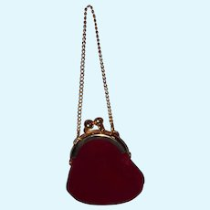 Red velvet with gold trim Doll Purse for your Bisque or Composition Doll