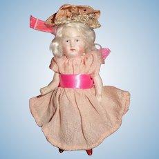 Darling Tiny All Bisque Platinum Blonde German Doll
