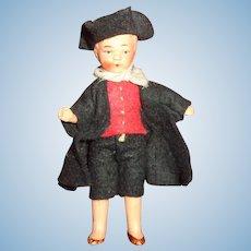 German Dollhouse Miniature Colonial Man Bisque Doll