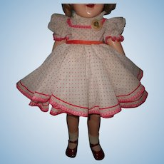 """Shirley Temple Red/White 27"""" Dress Set w/ Pin and Shoes for Composition Doll"""