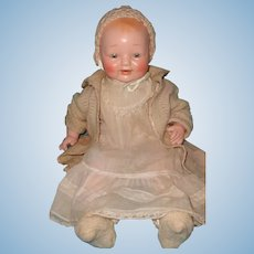 """Beautiful High Color 19"""" Dimples Composition baby Doll in Horsman Tagged dress"""
