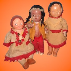 3 Doll Lot Campbell Soup Native American Composition and Reliable Doll ~ Parts or Repair