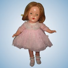 "Effanbee 16"" Mary Lee Composition Doll in Factory Original Windowpane Dress"