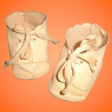 "Authentic Effanbee Oil Cloth Shoes for 20"" Composition Baby Doll ~ Scroll design"