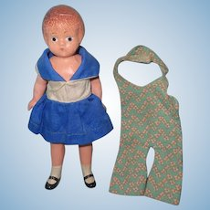 Effanbee 1930s Wee Patsy Composition Doll w/ Extra Outfit