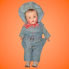 1940s Adorable Composition Baby Doll ~ Ready for Winter