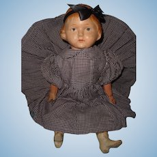 """Early 16"""" Molded Hair Doll with Composition Boots ~ Straw Stuffed"""
