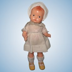 Effanbee Baby Tinyette Straight Leg Composition Doll ~ Factory Original ~ Molded Hair