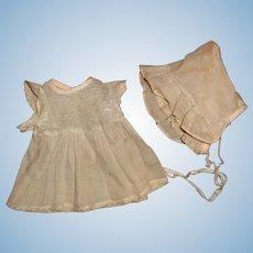 Authentic Tiny Tears Dress w/ Matching Bonnet Dimity Swiss Dot