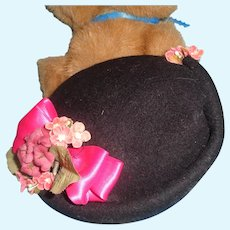 Pretty Black Molded Felt Tam for Large Bisque Or Composition Doll