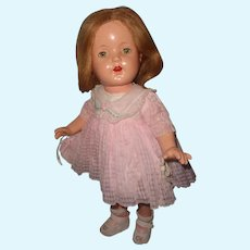 """Effanbee 16"""" Mary Lee Composition Doll in Factory Original Windowpane Dress"""