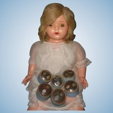 Factory Original Dolly Reckord BLONDE Talking Phonograph Composition Doll w/ 6 Cylinders ~ WORKS!