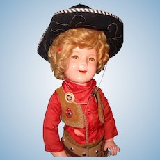 "Ideal 27"" Shirley Temple Texas Centennial Composition Doll ~ Original Factory Costume"