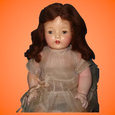 "25"" Pretty Composition Mama Doll ~ Factory Original Dress"