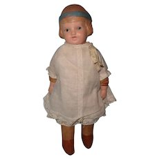 Adorable Early Composition Doll w/ Painted Molded Ribbon Bow ~ Schoenhut Like