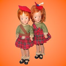 "Pair of 9"" Composition Madame Alexander Dolls w Betty Face ~ Tagged"