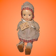 "Early 1920s Factory Original 13"" Mama Doll w/ Tag"